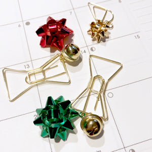 Chic Gold Bow Clip with Cute Red or Green Bow and Bell