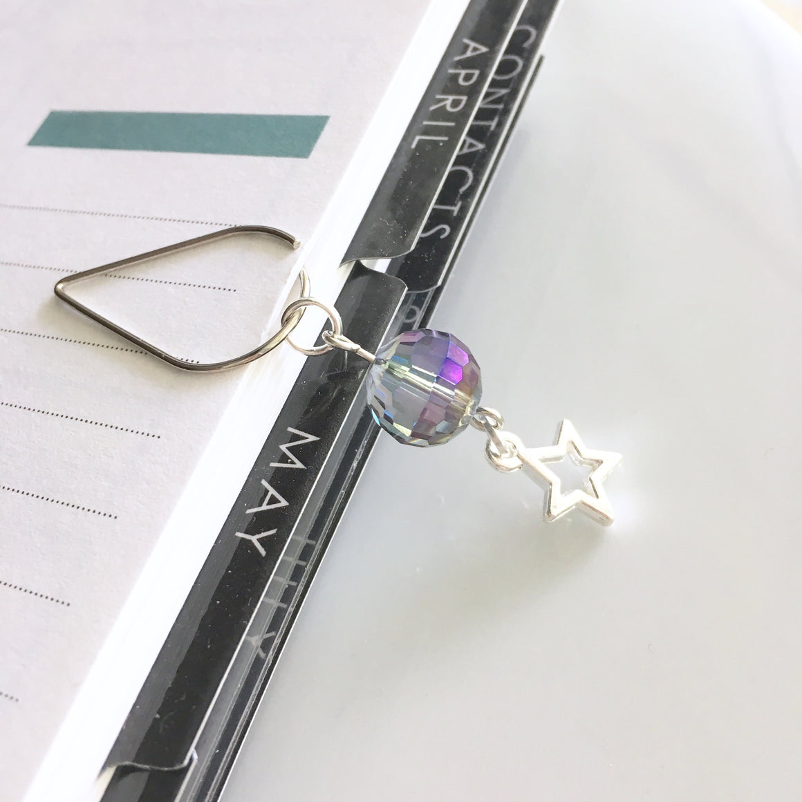 Sparkly Ultraviolet Bead and Star Dangle Charm