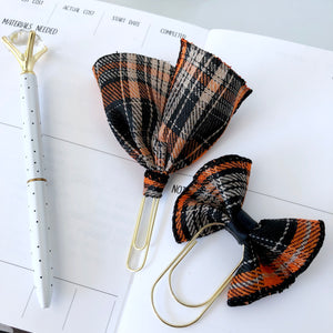 Pretty Plaid Orange Bow or Ribbon Clip