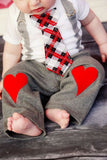 Bow Tie Red Heart Bodysuit+Long Pants Suspenders Outfit - TheBabyShoppie
