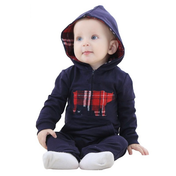 Woodland Animal Hooded Jumpsuit - TheBabyShoppie