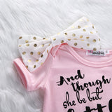 'Little But Fierce' Baby Girl Romper with Bow - TheBabyShoppie
