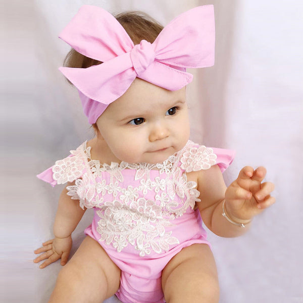 Infant Baby Girl's sleeveless Lace Floral Jumpsuit - TheBabyShoppie