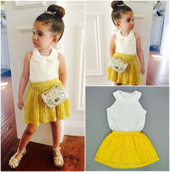 Princess T-shirt+ Lace skirts Outfit - TheBabyShoppie