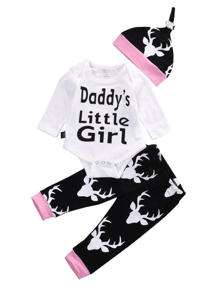 Baby Girls Long Sleeve Tops Romper +Long Pants Hat - TheBabyShoppie