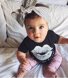 Big Kisses Outfit - Kiss T-shirt and Eyelashes Pants - TheBabyShoppie