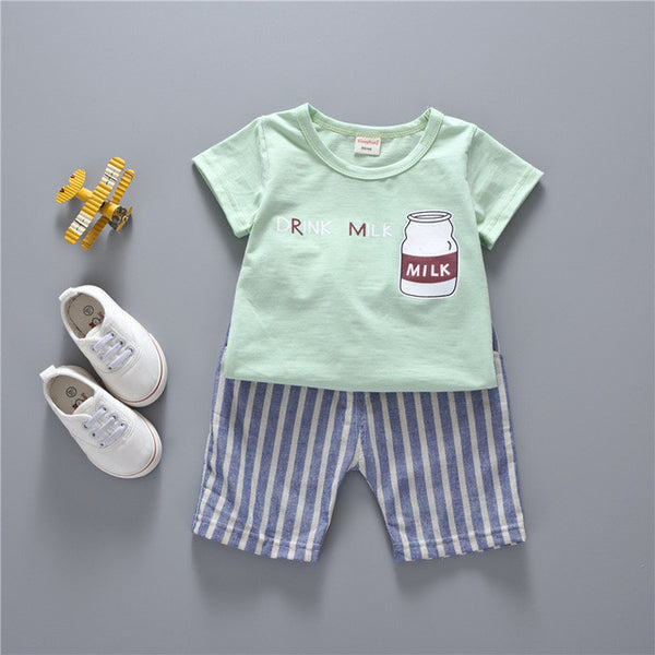 Drink Me T-shirt+Striped Pants Boy Clothing Suit - TheBabyShoppie