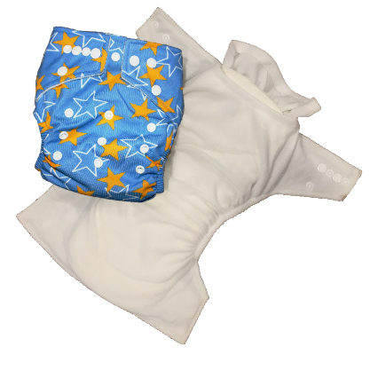 Stay Dry Bamboo Cloth Nappy - Blue & Yellow Star