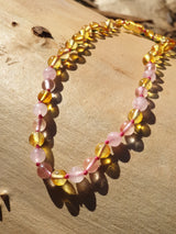 Rose Quartz & Clear Quartz Honey Baroque Amber Necklace