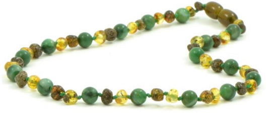 Green and African Jade Amber Necklace