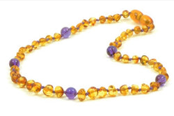 NEW Cognac Amber and Amethyst Necklace