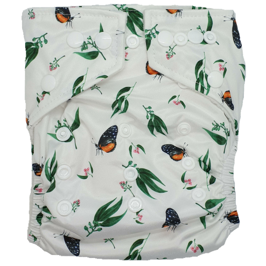Hippybottomus Stay Dry Bamboo Nappy - Butterflies