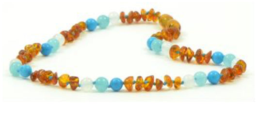 NEW Turquoise, Aquamarine, White Agate & Cognac Amber Necklace