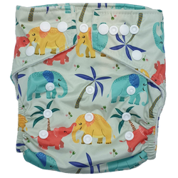 Stay Dry Bamboo Cloth Nappy - Elephants