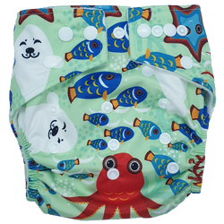 Hippybottomus Stay Dry Bamboo Nappy - Ocean Sea Fish Starfish Octopus Seal
