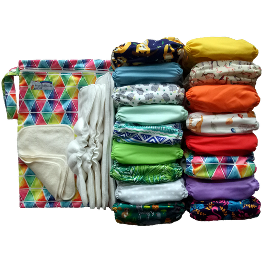 Modern cloth nappy supplementary nappy stash for Hippybottomus Australia