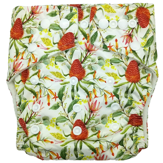 Hippybottomus Reusable Cloth Diaper - Native Australian Flowers