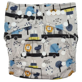 Hippybottomus Stay Dry Bamboo Nappy - Cruising Around