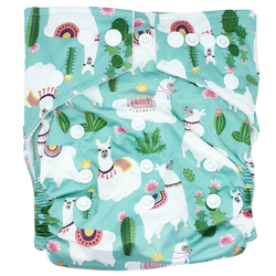 Stay-Dry Bamboo Cloth Nappy - Mint  Llama