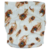 Hippybottomus Stay Dry Bamboo Cloth Nappy Australia - Peacock Feathers