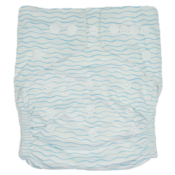 Hippybottomus Stay Dry Bamboo Cloth Nappy Australia - Blue Wavy Waves