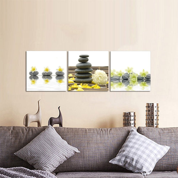 Yellow Flowers with Black Stone Zen Wall Artwork