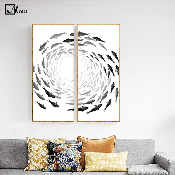 Fishes Flow - Zen Wall Artwork (2 pieces)
