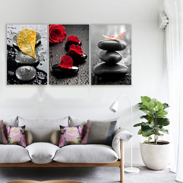 Leaves Over Stones Zen Canvas - Wall Art Paintings 3 Panels