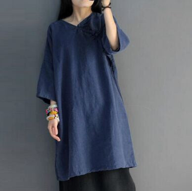 Spring and Summer Cotton Loose Dress