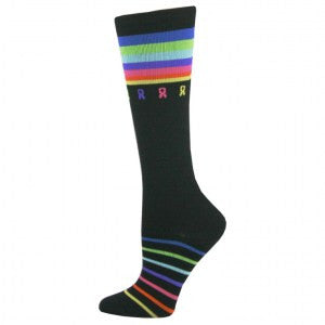 Print Multi-Ribbon Cancer Awareness Fashion Compression Sock