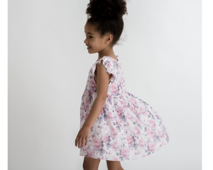 Little Hearts Summer Luxe Frill Dress in Blush Rose available now at 2 Little Rascals NZ
