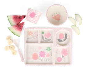 The prettiest Flower Garden Divided Plate set by Love Mae now available at 2 Little Rascals NZ