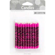 Black/Pink Zebra Candles