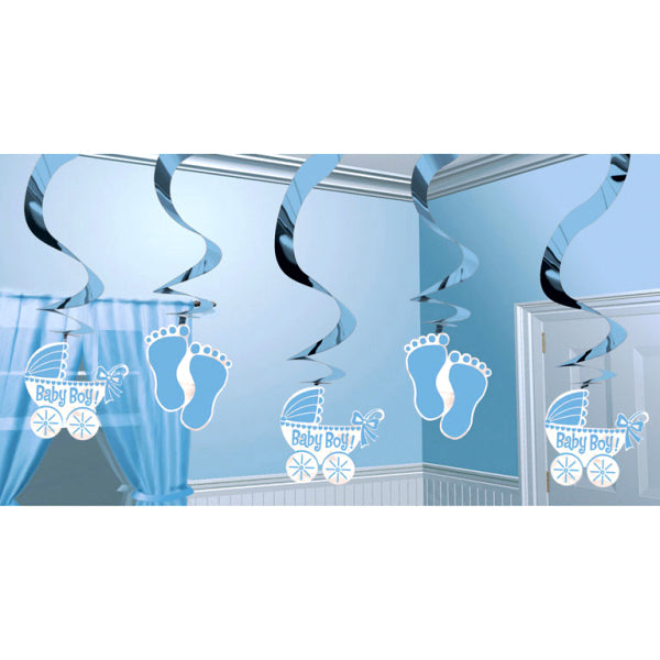 Baby Boy Swirl Decorations
