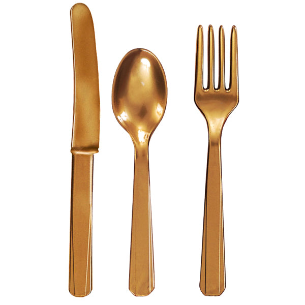 Plastic Cutlery Set - Gold