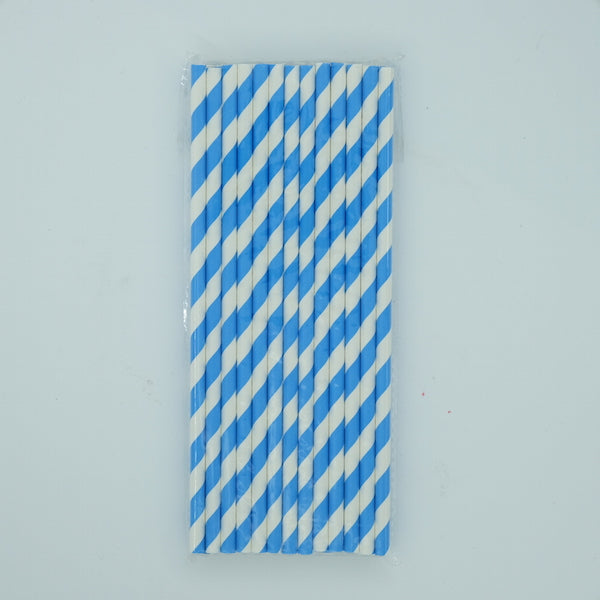 Paper Straw - Blue and White Stripes