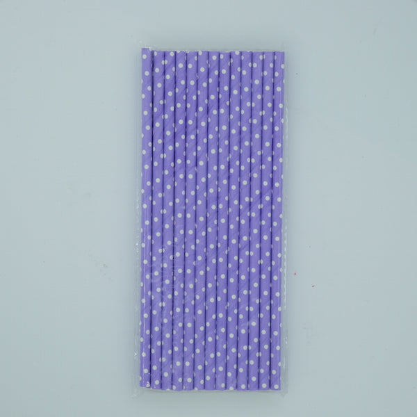 Paper Straw - Lavender with White Dots