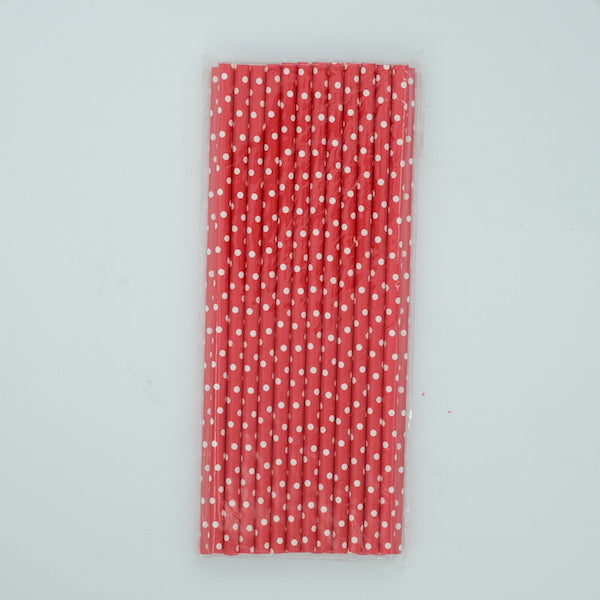 Paper Straw - Red with White Dots