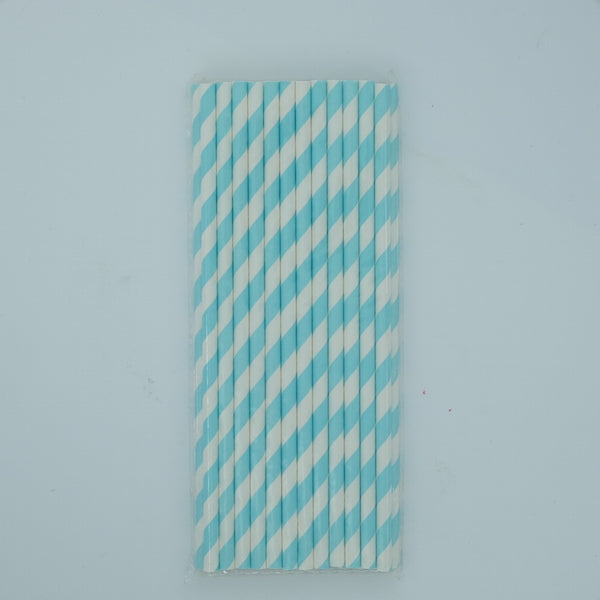 Paper Straw - Light Blue and White Stripes