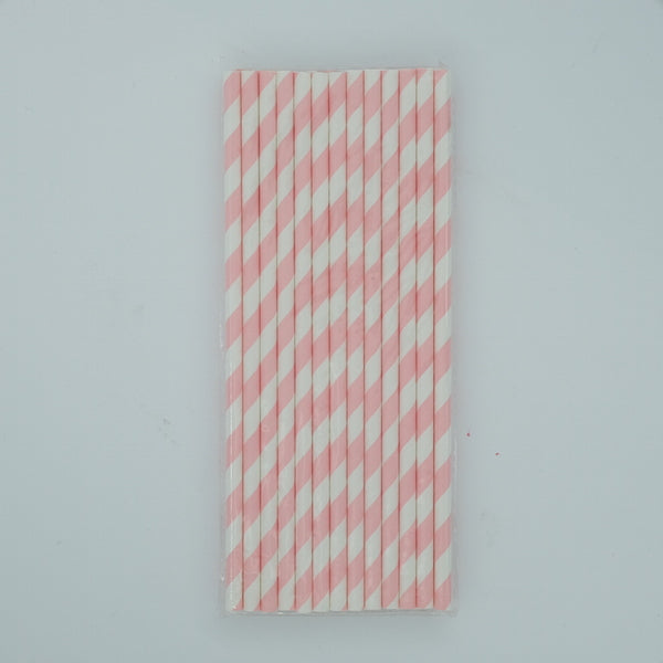 Paper Straw - Pink and White Stripes
