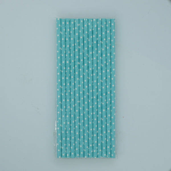 Paper Straw - Light Teal with White Polka Dots
