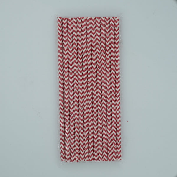 Paper Straw - Red and White Chevron