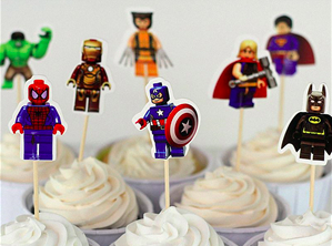 Block Superhero Cupcake Toppers