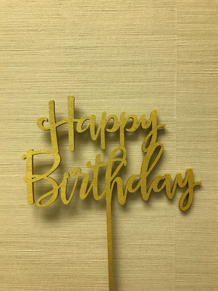 Happy Birthday Cake Topper, Gold, Wood