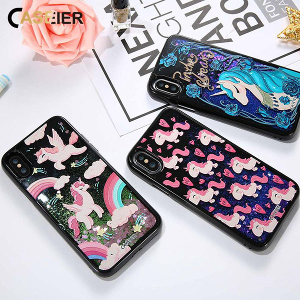 Glitter Liquid Quicksand Phone Case For iPhone X Cute Unicorn 3D Relief Cover For iPhone X 10