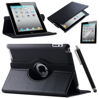 Leather Stand Flip Case Cover 360 Rotating Screen Protector Film