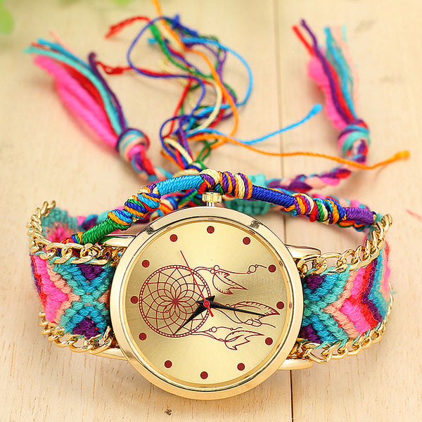 Vintage Women Native Handmade Quartz Watch Knitted Dreamcatcher