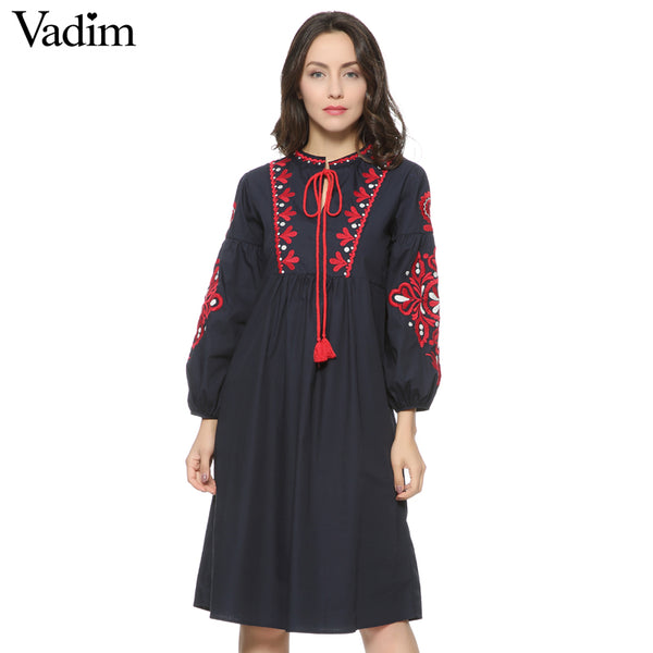 Women vintage floral embroidery dress drawstring tie tassels long sleeve