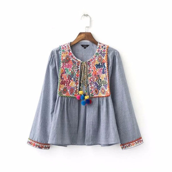 women vintage Boho embroidery jacket vintage