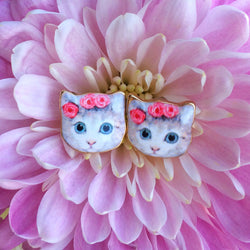 Coachella Purrincess, , Earrings, cat, kitten, jewelry